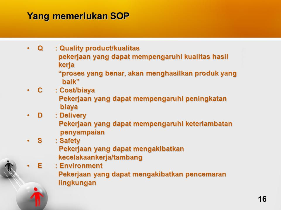 Yang memerlukan SOP 16 Q : Quality product/kualitas