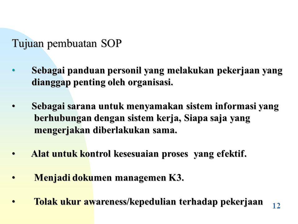 4/28/2017 Tujuan pembuatan SOP. Sebagai panduan personil yang melakukan pekerjaan yang. dianggap penting oleh organisasi.