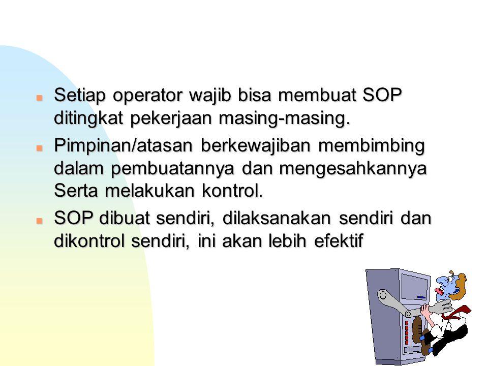 4/28/2017 Setiap operator wajib bisa membuat SOP ditingkat pekerjaan masing-masing.