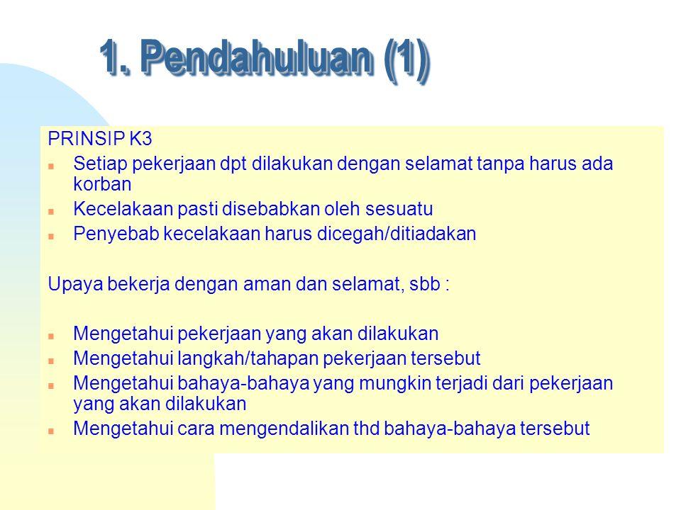 1. Pendahuluan (1) PRINSIP K3