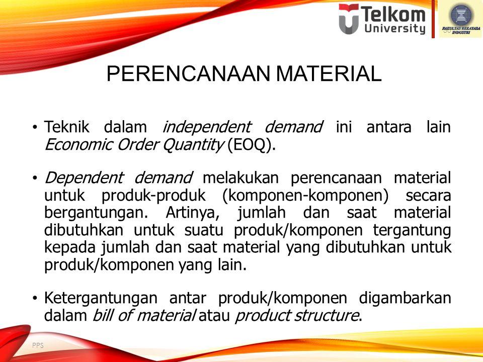 Perencanaan Material Teknik dalam independent demand ini antara lain Economic Order Quantity (EOQ).