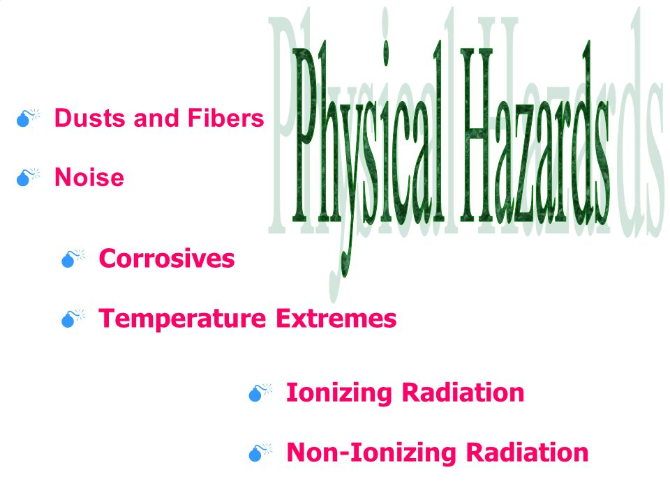 Physical Hazards Dusts and Fibers Noise Corrosives
