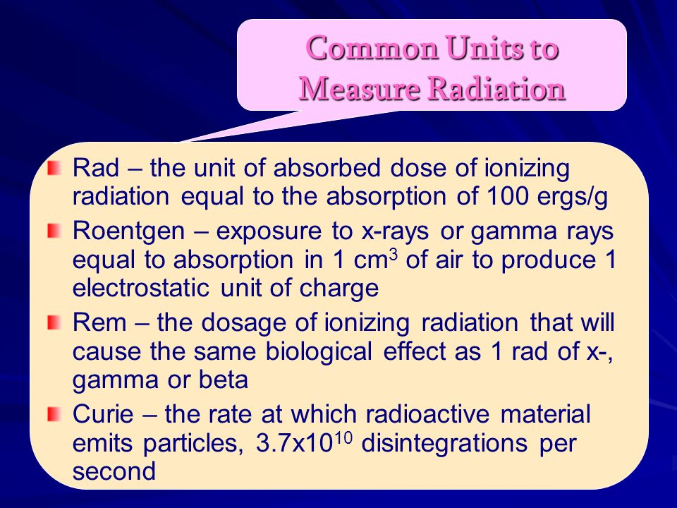 Common Units to Measure Radiation