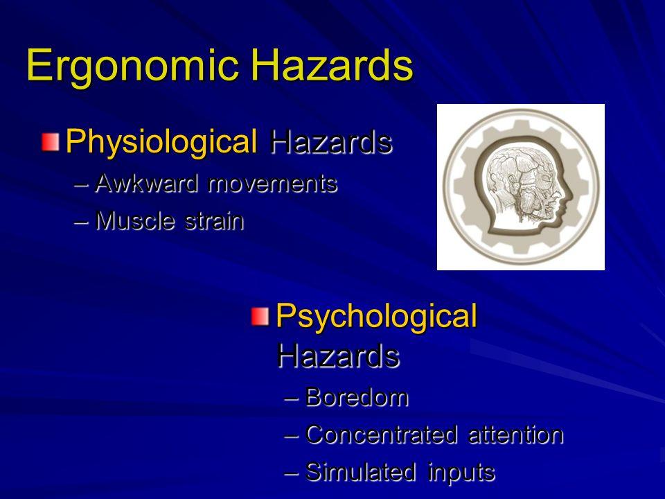 Ergonomic Hazards Physiological Hazards Psychological Hazards