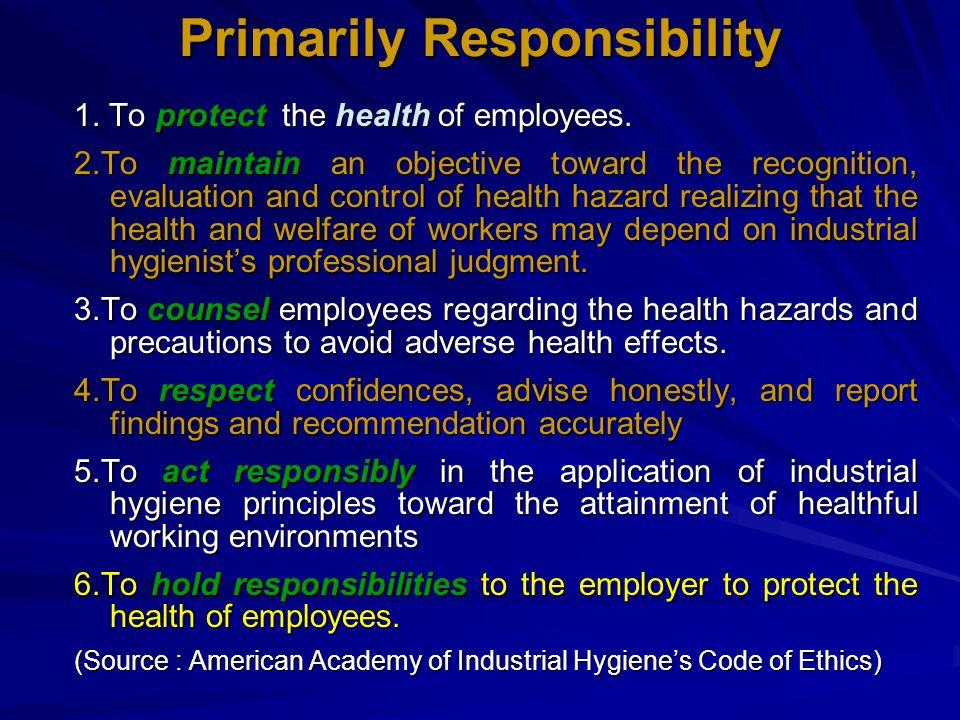 Primarily Responsibility
