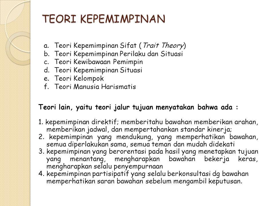 TEORI KEPEMIMPINAN Teori Kepemimpinan Sifat (Trait Theory)