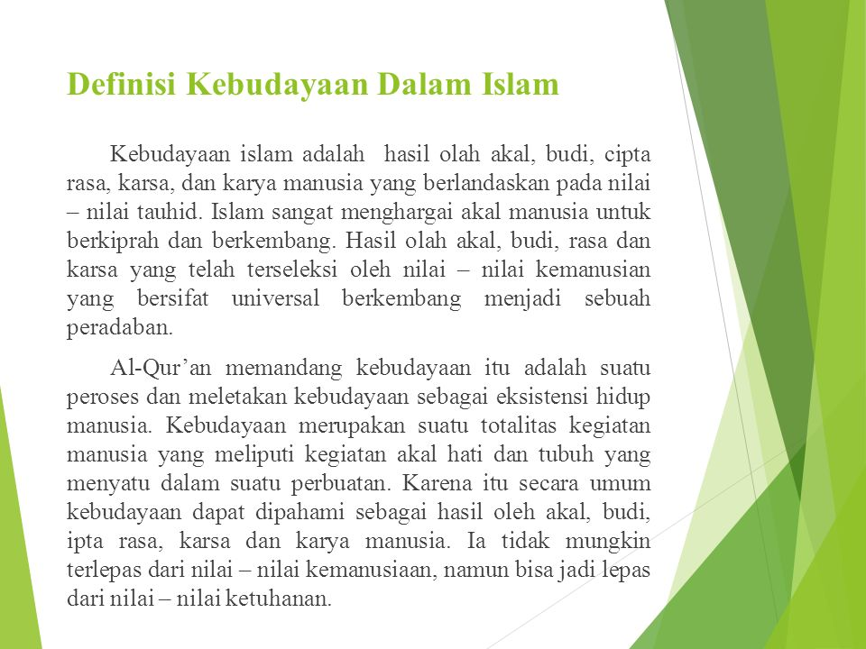 Definisi Kebudayaan Dalam Islam