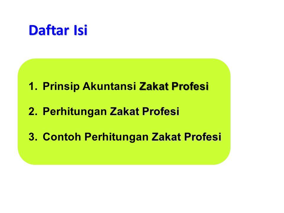 Daftar Isi Prinsip Akuntansi Zakat Profesi Perhitungan Zakat Profesi