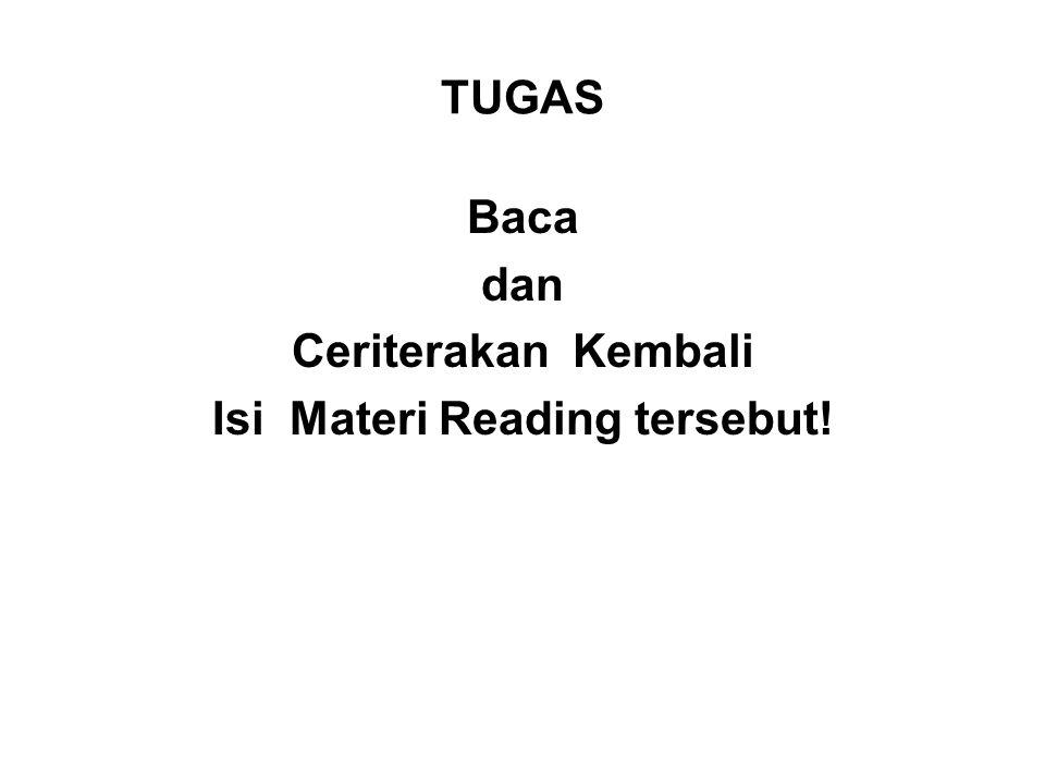 Baca dan Ceriterakan Kembali Isi Materi Reading tersebut!