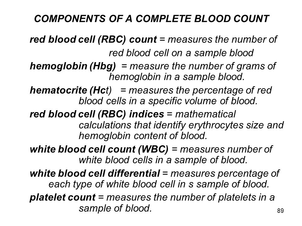 COMPONENTS OF A COMPLETE BLOOD COUNT