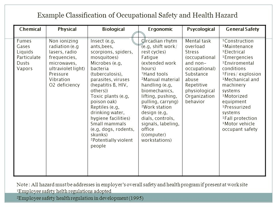 Example Classification of Occupational Safety and Health Hazard