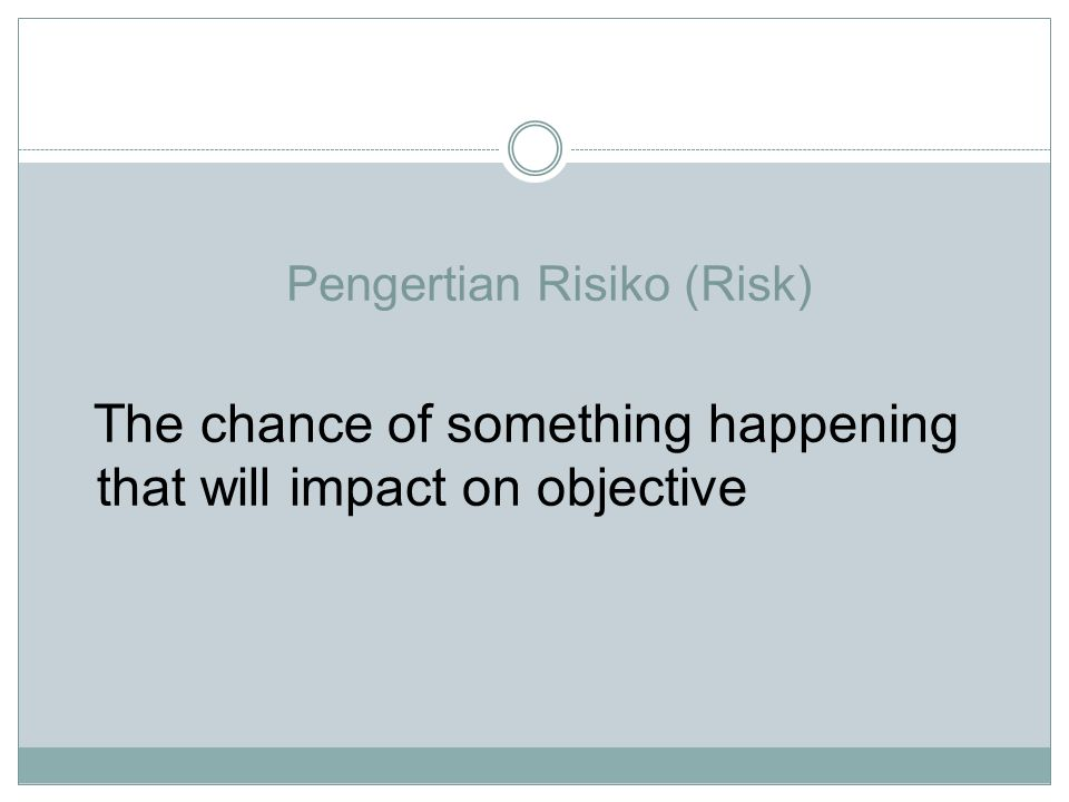 Pengertian Risiko (Risk)
