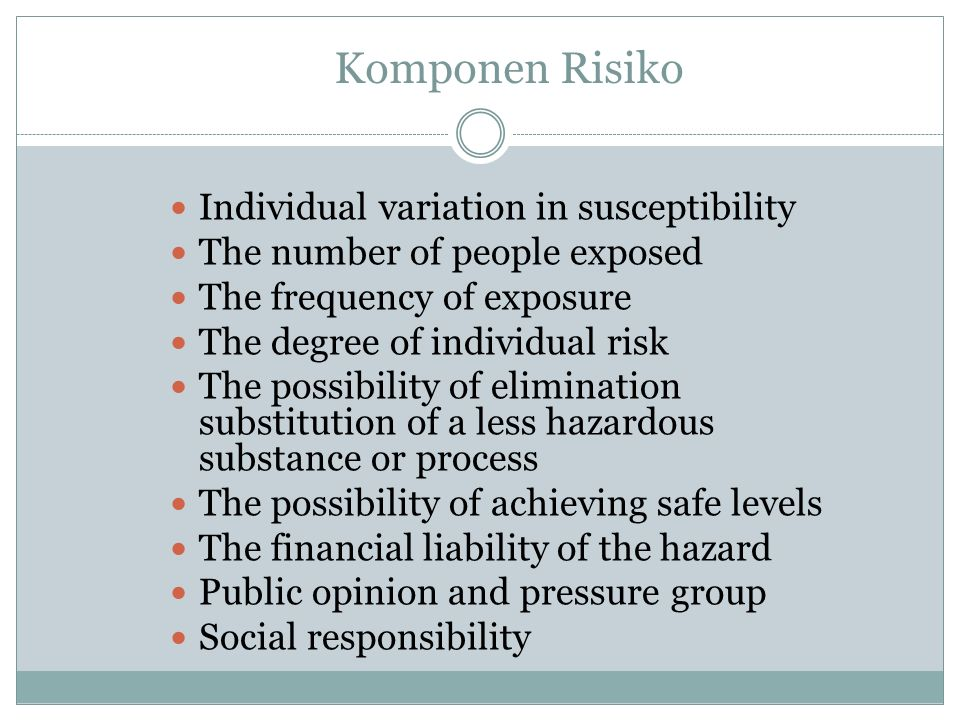 Komponen Risiko Individual variation in susceptibility