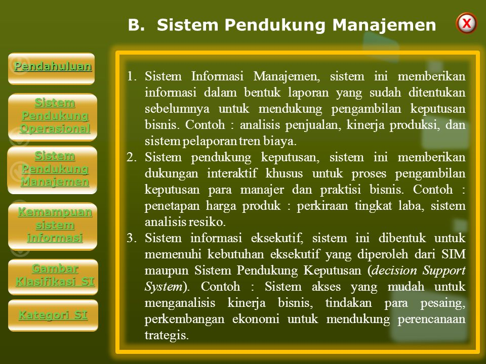 B. Sistem Pendukung Manajemen