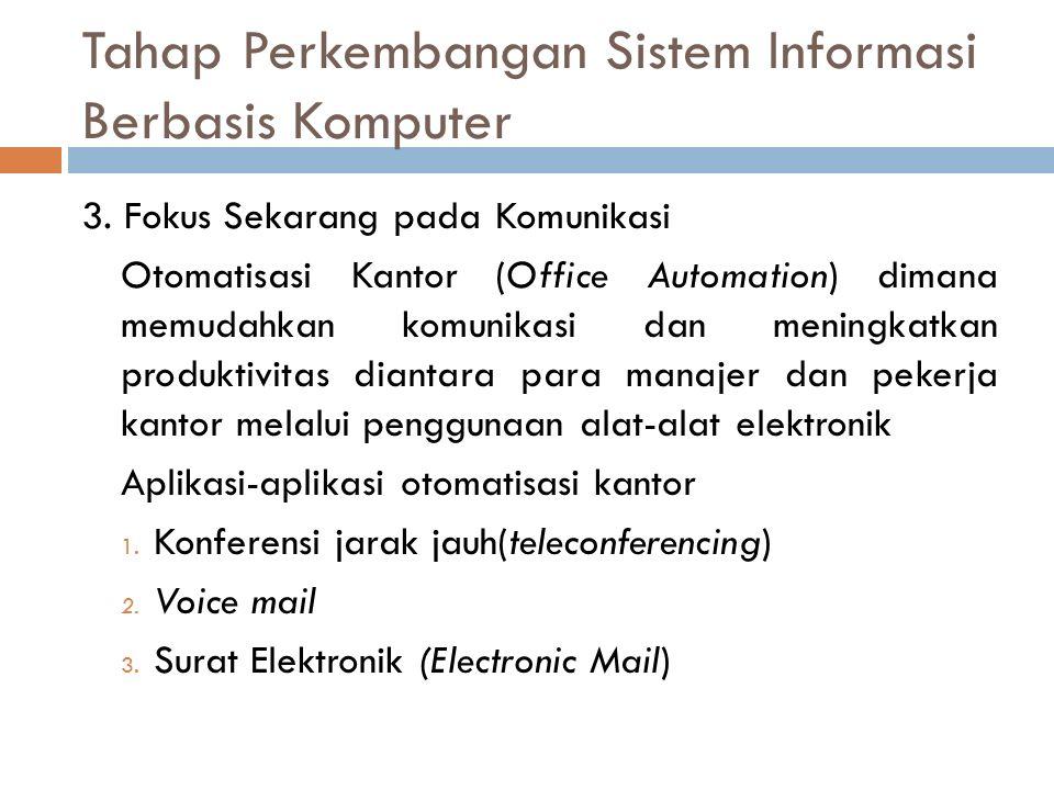 Tahap Perkembangan Sistem Informasi Berbasis Komputer