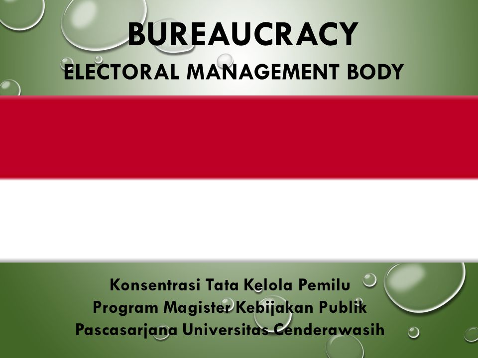 BUREAUCRACY ELECTORAL MANAGEMENT BODY Konsentrasi Tata Kelola Pemilu