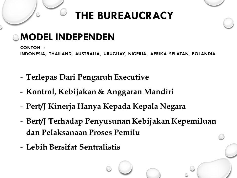 The Bureaucracy MODEL INDEPENDEN Terlepas Dari Pengaruh Executive