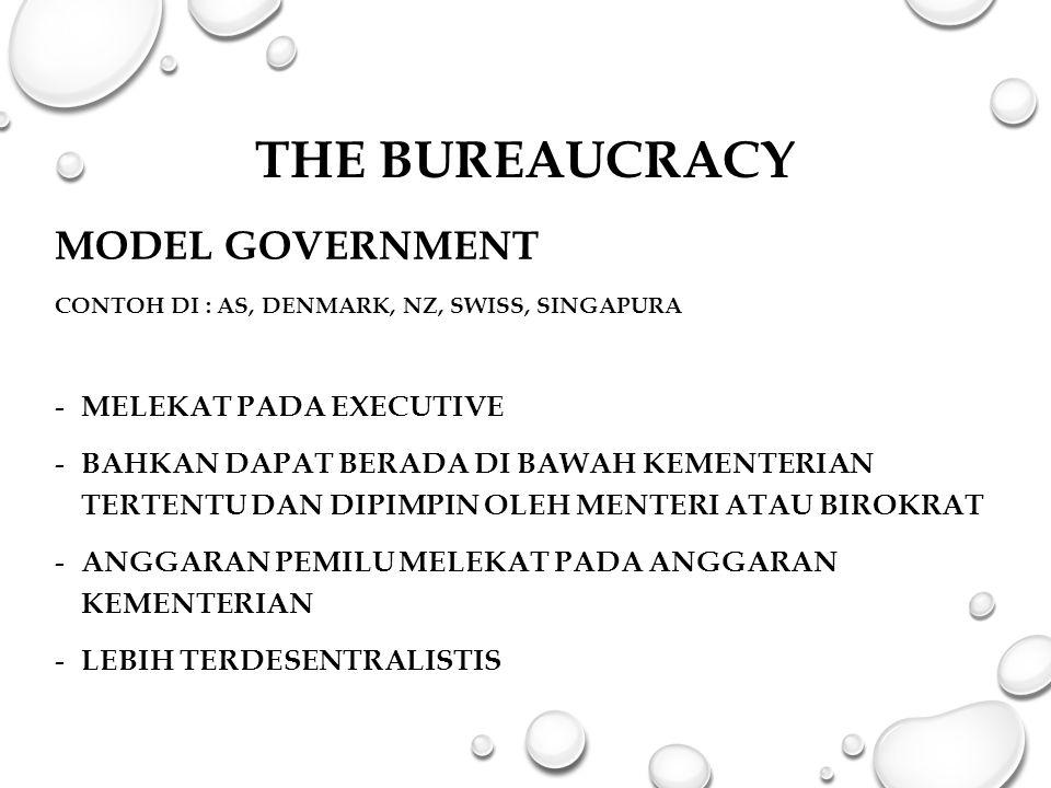 The Bureaucracy MODEL GOVERNMENT Melekat pada Executive