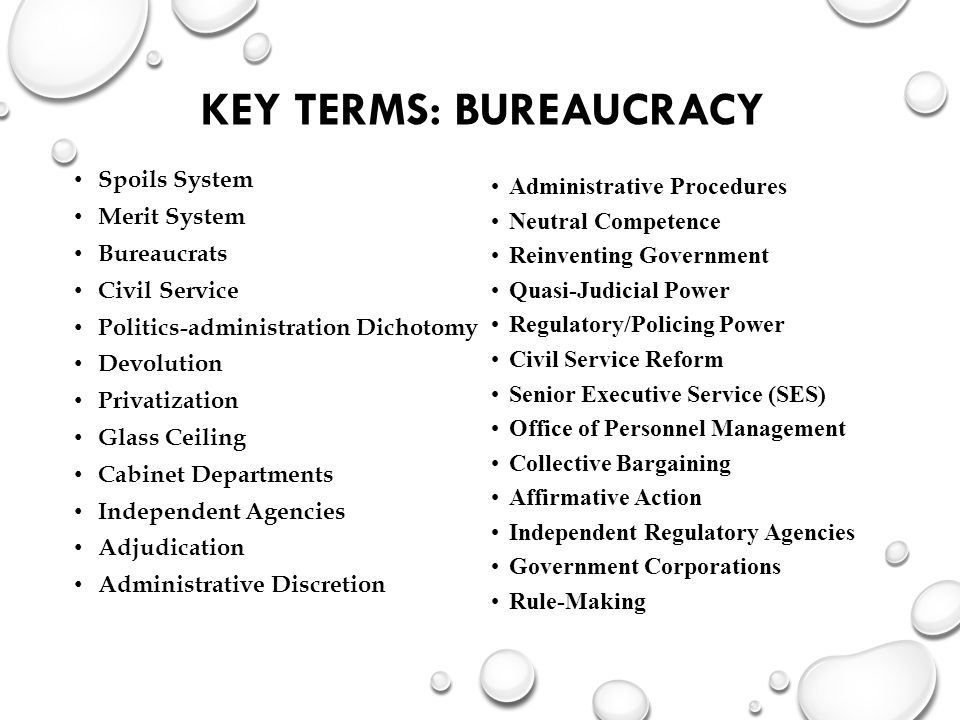 Key Terms: Bureaucracy