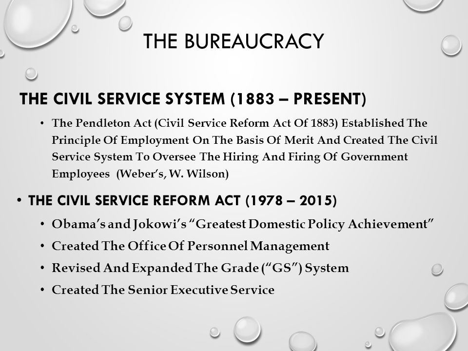 The Bureaucracy The Civil Service System (1883 – Present)