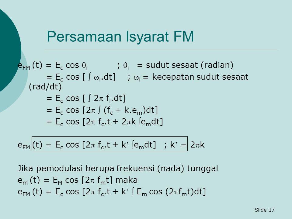 Persamaan Isyarat FM eFM (t) = Ec cos i ; i = sudut sesaat (radian)