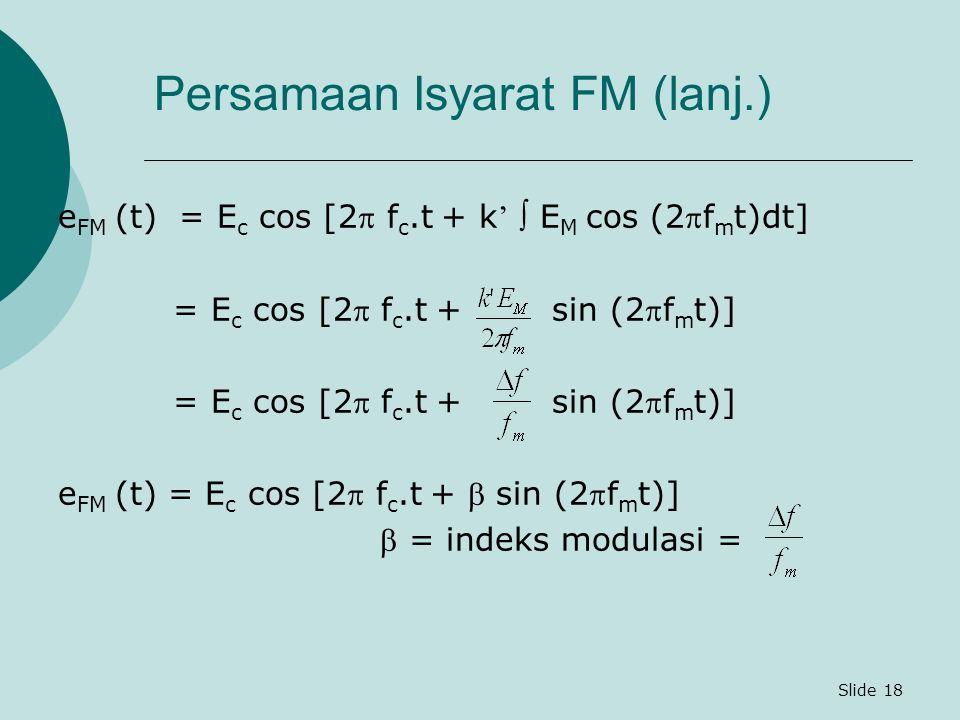 Persamaan Isyarat FM (lanj.)