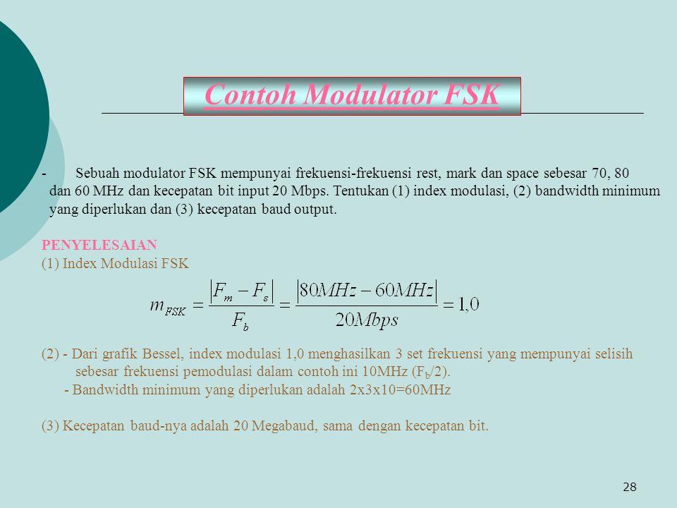 Contoh Modulator FSK Sebuah modulator FSK mempunyai frekuensi-frekuensi rest, mark dan space sebesar 70, 80.