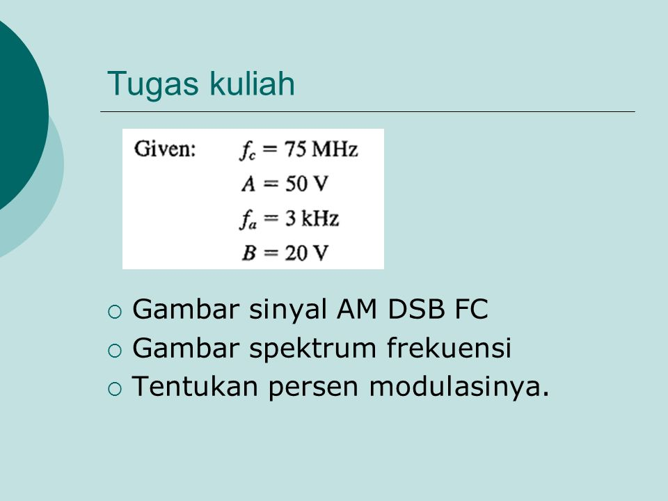 Tugas kuliah Gambar sinyal AM DSB FC Gambar spektrum frekuensi