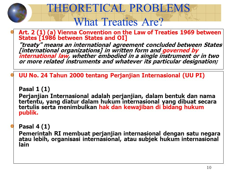 THEORETICAL PROBLEMS What Treaties Are
