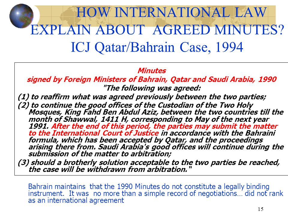 HOW INTERNATIONAL LAW EXPLAIN ABOUT AGREED MINUTES