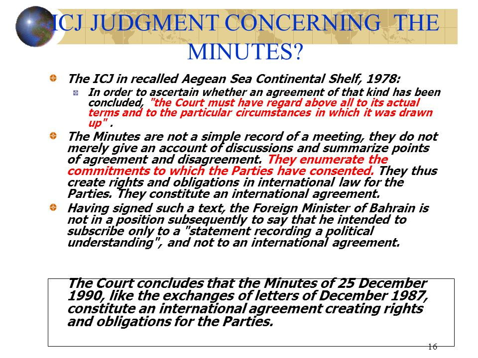 ICJ JUDGMENT CONCERNING THE MINUTES