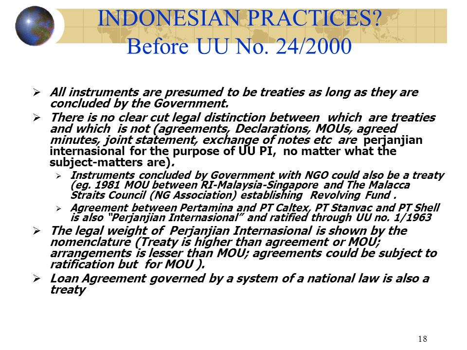 INDONESIAN PRACTICES Before UU No. 24/2000