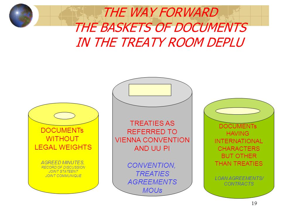 THE WAY FORWARD THE BASKETS OF DOCUMENTS IN THE TREATY ROOM DEPLU