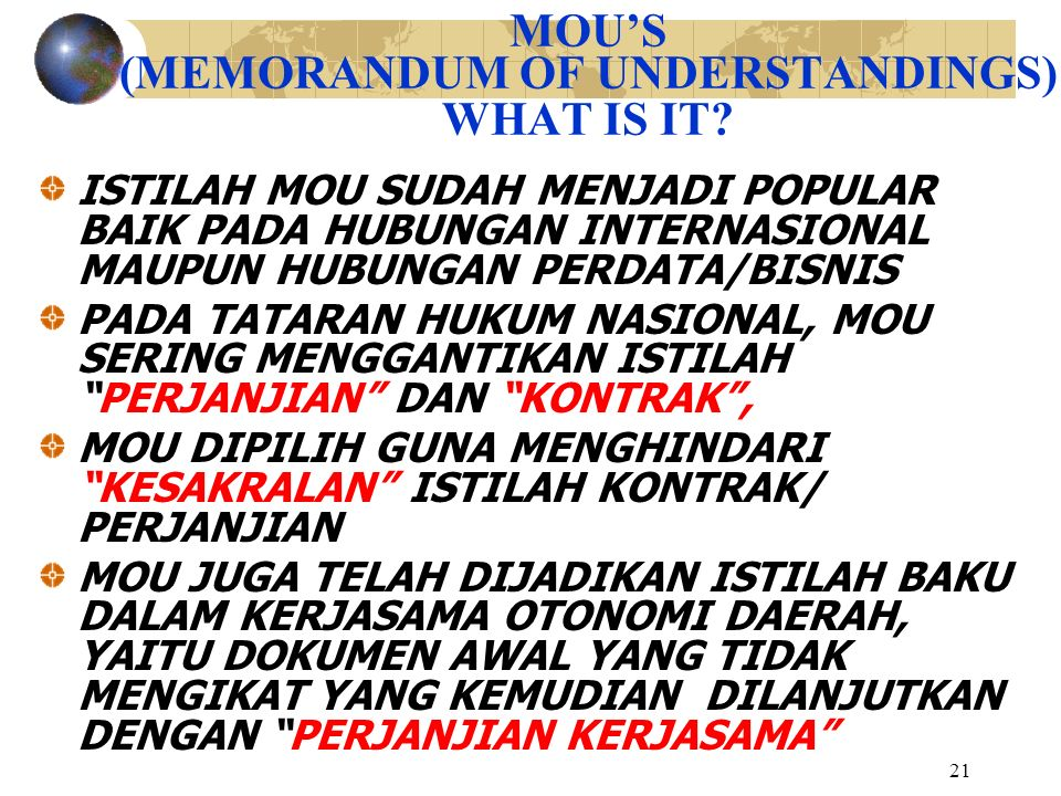 MOU'S (MEMORANDUM OF UNDERSTANDINGS) WHAT IS IT