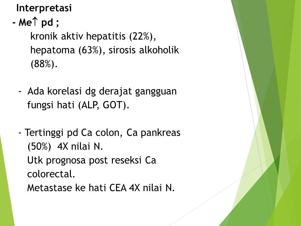 * Interpretasi - Me pd ; kronik aktiv hepatitis (22%),