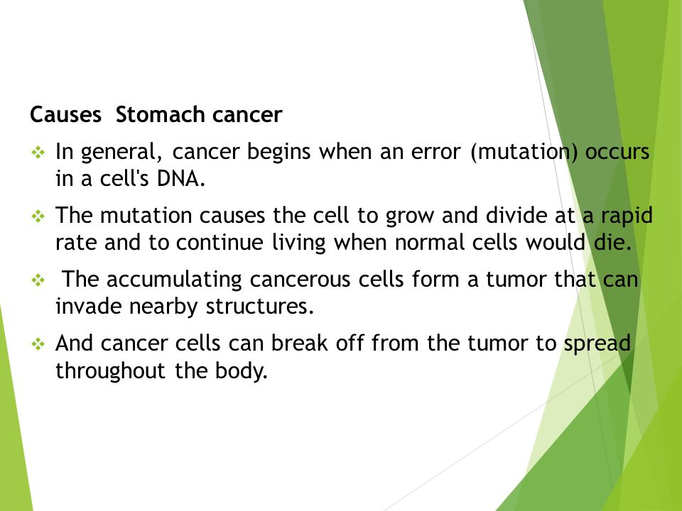 Causes Stomach cancer In general, cancer begins when an error (mutation) occurs in a cell s DNA.
