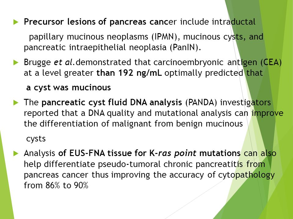 Precursor lesions of pancreas cancer include intraductal