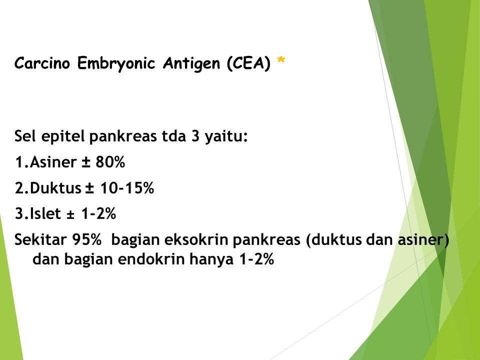Carcino Embryonic Antigen (CEA). Sel epitel pankreas tda 3 yaitu: 1