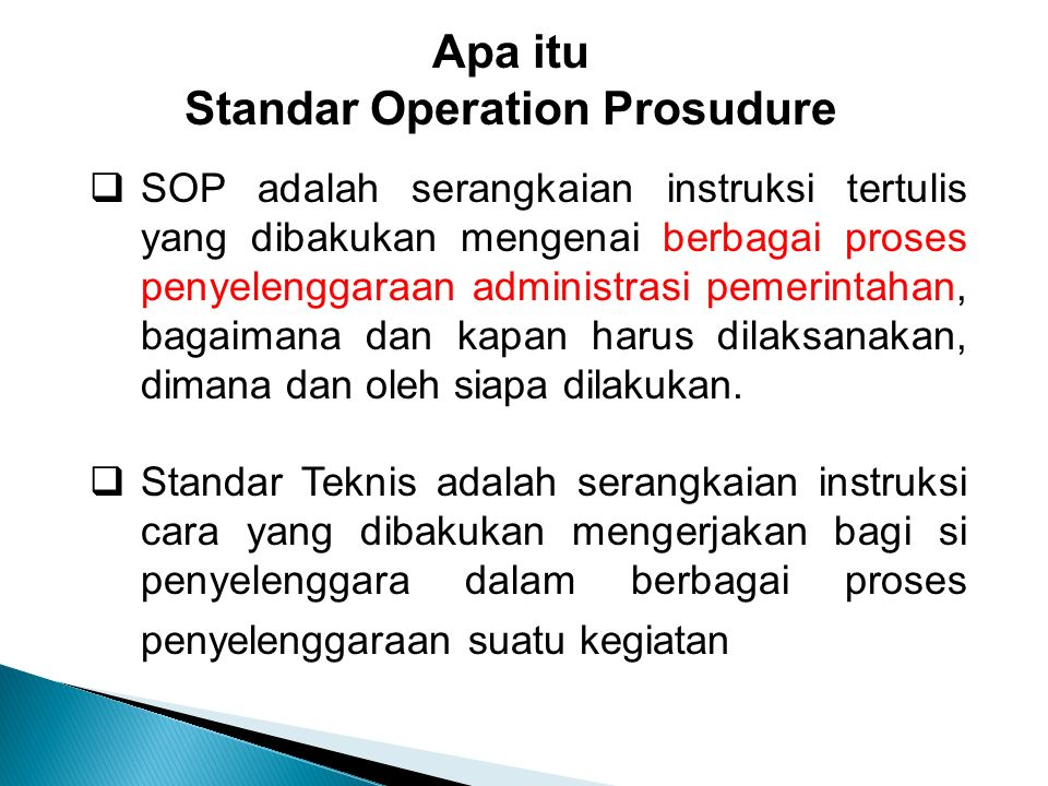Standar Operation Prosudure