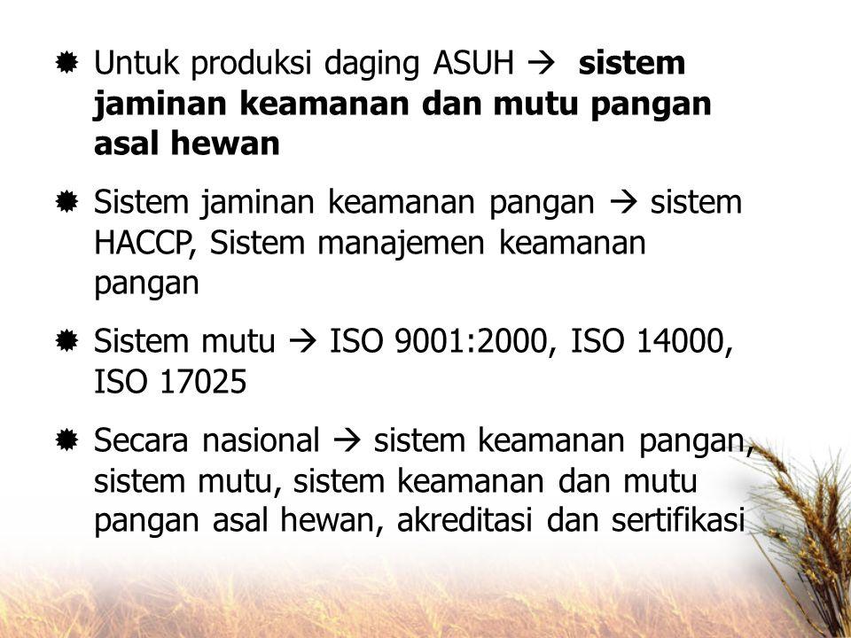 Untuk produksi daging ASUH  sistem jaminan keamanan dan mutu pangan asal hewan
