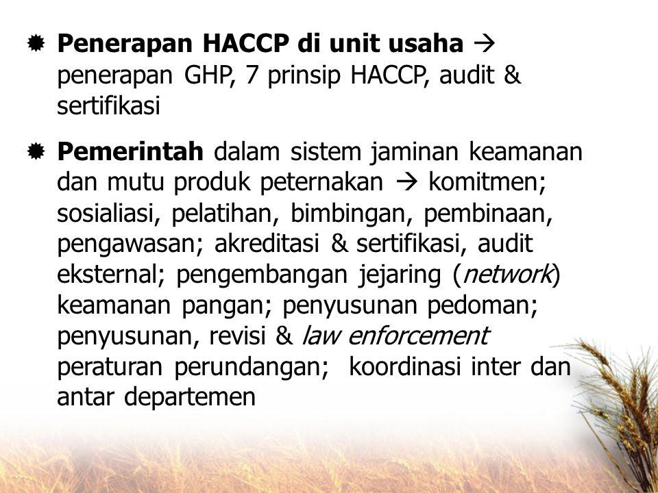 Penerapan HACCP di unit usaha  penerapan GHP, 7 prinsip HACCP, audit & sertifikasi