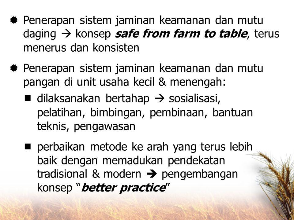Penerapan sistem jaminan keamanan dan mutu daging  konsep safe from farm to table, terus menerus dan konsisten