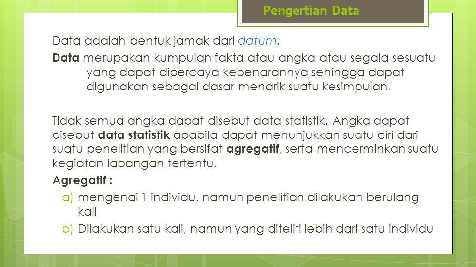 Pengertian Data Data adalah bentuk jamak dari datum.