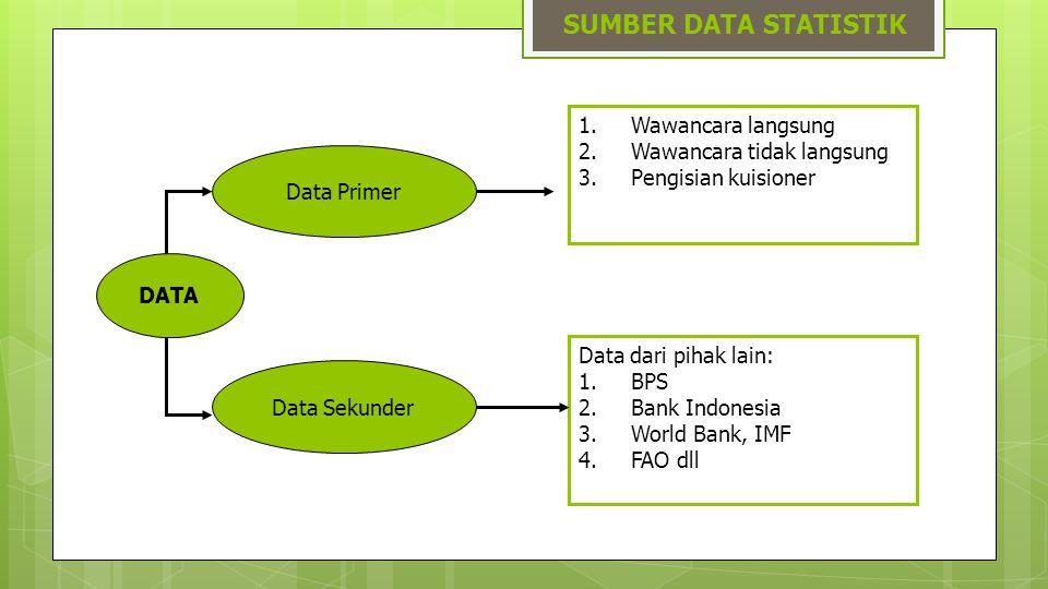 SUMBER DATA STATISTIK DATA Data Primer Wawancara langsung