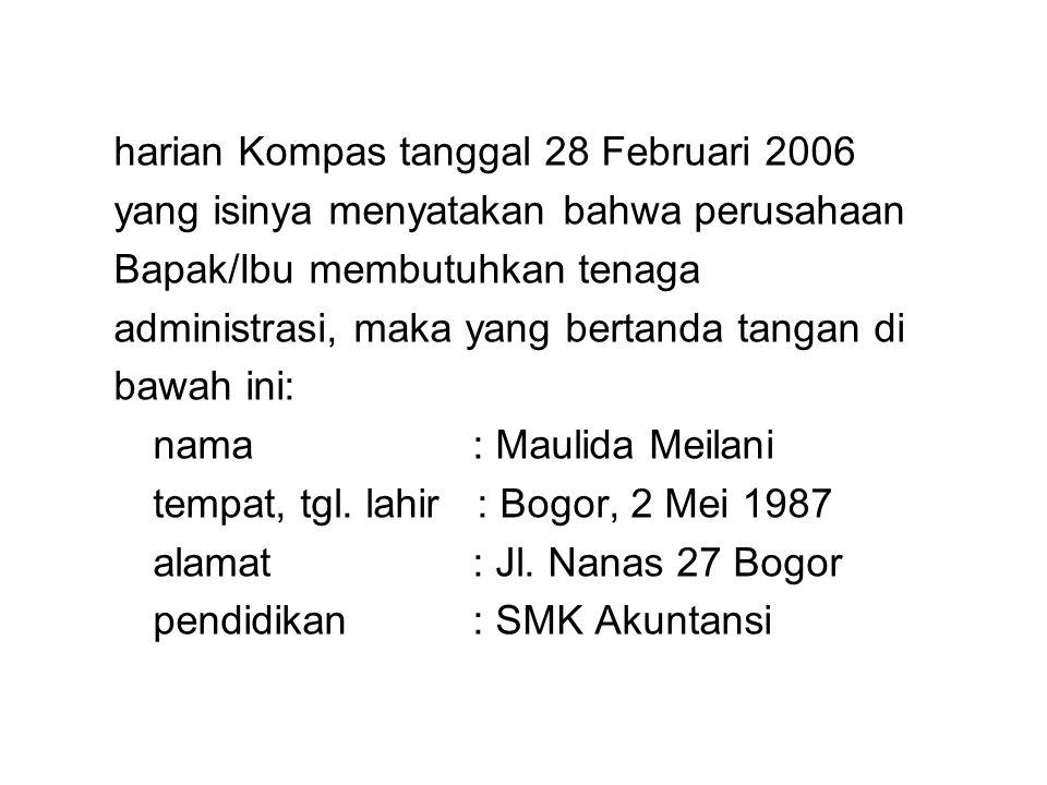 harian Kompas tanggal 28 Februari 2006