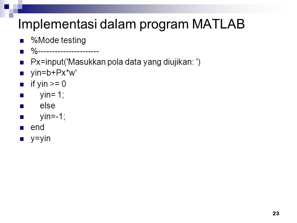 Implementasi dalam program MATLAB