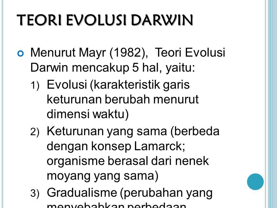 TEORI EVOLUSI DARWIN Menurut Mayr (1982), Teori Evolusi Darwin mencakup 5 hal, yaitu: