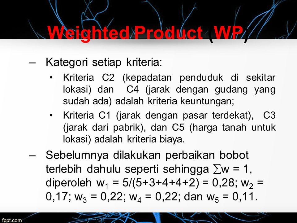 Weighted Product (WP) Kategori setiap kriteria: