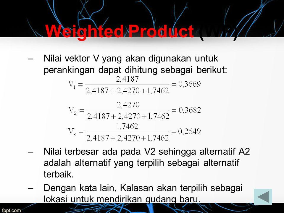 Weighted Product (WP) Nilai vektor V yang akan digunakan untuk perankingan dapat dihitung sebagai berikut: