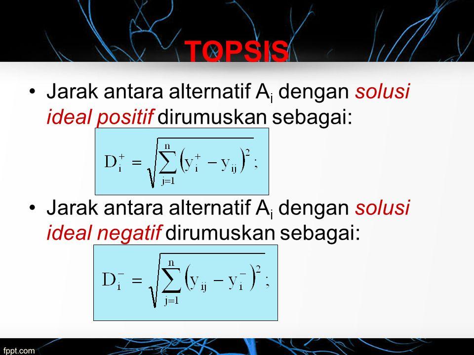 TOPSIS Jarak antara alternatif Ai dengan solusi ideal positif dirumuskan sebagai: